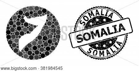Vector Mosaic Map Of Somalia With Round Spots, And Grey Grunge Stamp. Hole Round Map Of Somalia Coll