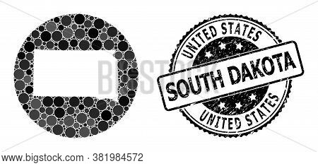 Vector Mosaic Map Of South Dakota State With Circle Elements, And Gray Watermark Stamp. Subtraction