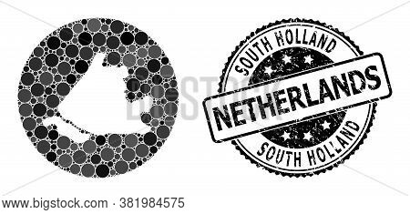 Vector Mosaic Map Of South Holland With Circle Dots, And Gray Watermark Seal. Stencil Round Map Of S