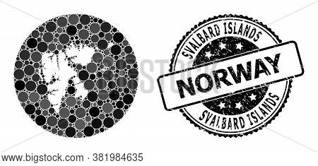 Vector Mosaic Map Of Svalbard Islands With Round Blots, And Gray Rubber Stamp. Subtraction Round Map