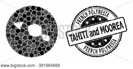 Vector Mosaic Map Of Tahiti And Moorea Islands Of Circle Items, And Grey Rubber Stamp. Hole Round Ma