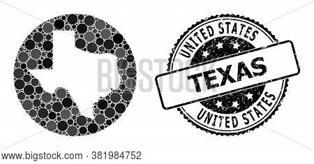 Vector Mosaic Map Of Texas State Of Circle Spots, And Gray Watermark Stamp. Subtraction Circle Map O