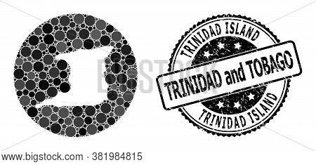 Vector Mosaic Map Of Trinidad Island Of Circle Blots, And Gray Grunge Seal Stamp. Subtraction Circle
