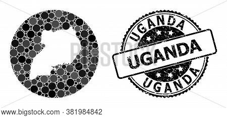 Vector Mosaic Map Of Uganda From Spheric Blots, And Gray Rubber Seal Stamp. Hole Circle Map Of Ugand