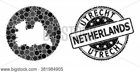 Vector Mosaic Map Of Utrecht Province With Circle Spots, And Gray Scratched Seal Stamp. Subtraction