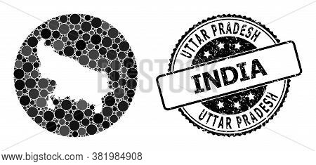 Vector Mosaic Map Of Uttar Pradesh State From Round Blots, And Grey Rubber Seal Stamp. Stencil Round