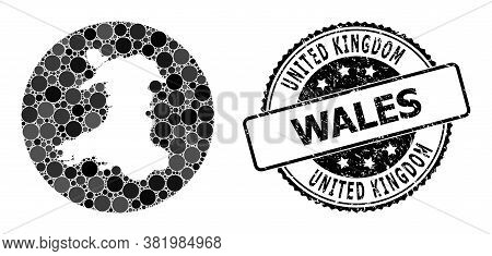 Vector Mosaic Map Of Wales With Circle Blots, And Grey Grunge Seal Stamp. Subtraction Circle Map Of