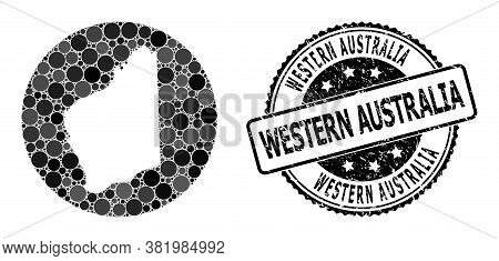 Vector Mosaic Map Of Western Australia With Round Elements, And Gray Grunge Seal. Subtraction Circle