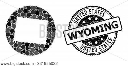 Vector Mosaic Map Of Wyoming State Of Spheric Dots, And Gray Scratched Seal. Subtraction Round Map O