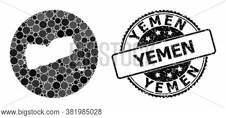 Vector Mosaic Map Of Yemen From Round Elements, And Grey Watermark Seal. Subtraction Circle Map Of Y