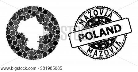 Vector Mosaic Mazovia Province Map With Circle Blots, And Grey Scratched Seal Stamp. Stencil Circle