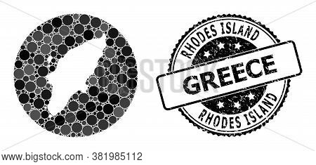 Vector Mosaic Rhodes Island Map From Round Items, And Gray Scratched Stamp. Stencil Round Rhodes Isl