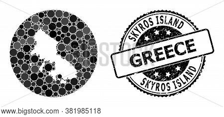 Vector Mosaic Skyros Island Map From Round Dots, And Grey Watermark Seal. Stencil Round Skyros Islan