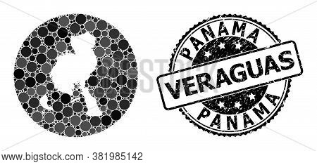 Vector Mosaic Veraguas Province Map With Circle Spots, And Grey Scratched Stamp. Stencil Round Verag