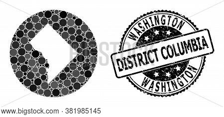 Vector Mosaic Washington District Columbia Map From Circle Dots, And Gray Scratched Seal Stamp. Hole