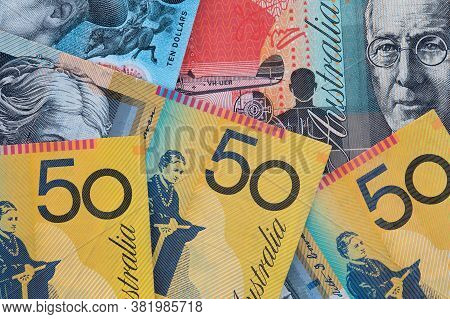 Top Down Image Of Australian Currency Including Ten,twenty And Fift Dollar Notes.