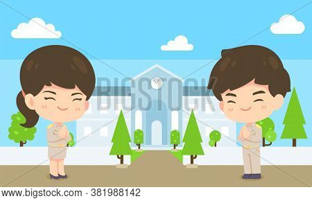 Cute Man And Woman Cartoon Government Employee On Office Background