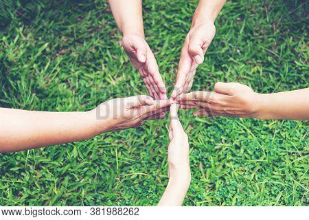 Solidarity Unite People Hands Together Community Teamwork. Hands Of Spirit Team Working Together Out