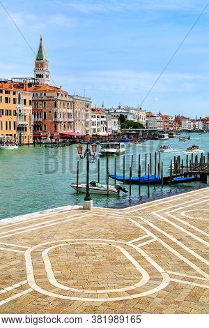 Waterfront Of Grand Canal In Venice, Italy. Venice Is Situated Across A Group Of 117 Small Islands T
