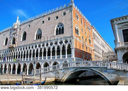 View Of Palazzo Ducale From Grand Canal In Venice, Italy. The Palace Was The Residence Of The Doge O