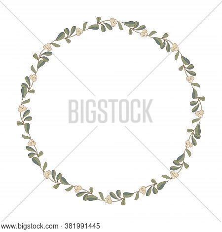 Christmas Wreath Twig Pattern Mistletoe. Rustic Vintage Bouquets With Mistletoe Twigs In Green Color