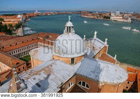 View Of The Dome Of San Giorgio Maggiore Church And Giudecca Canal In Venice, Italy. Venice Is Situa