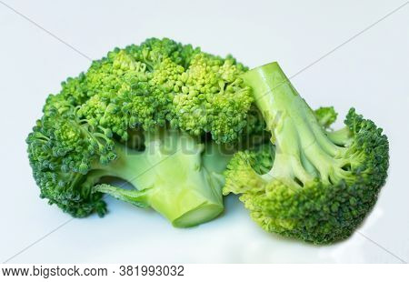 Brocoli Cabbage On A White Background. Close-up.