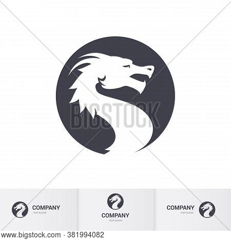 Dragon Head In Circle. Logos Design Concepts, For Your Brand Identity In Dark-gray And White Color T