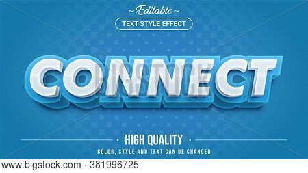 Editable Text Style Effect - Connect Theme Style. Graphic Design Element.