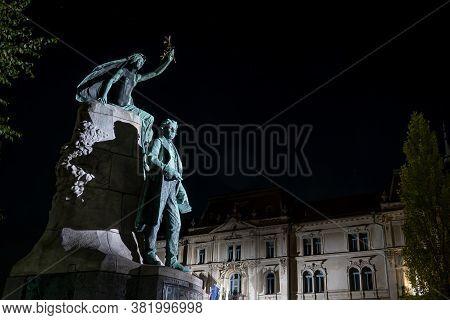 Ljubljana, Slovenia - August 13, 2020: The Statue Of France Preseren, Greatest Slovenian Poet.