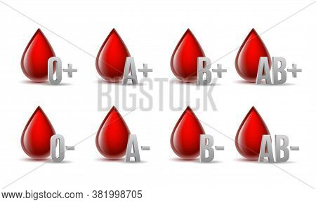 Set Of Red Blood Drops With Grey Blood Type Medical Icons.