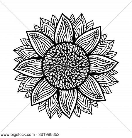 Coloring Antistress With Sunflower. Black And Whiter Coloring Book. Sunflower Stylized, Zentangle Co