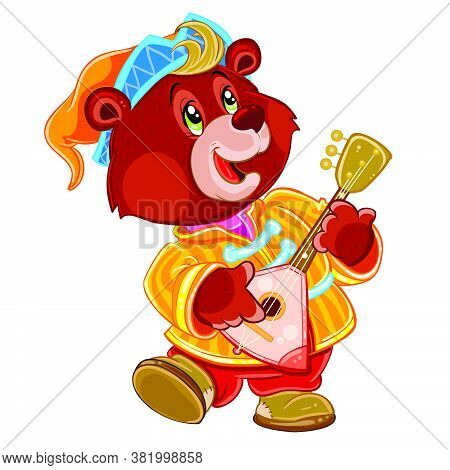 Bear With Balalaika And In A Cap Dancing At The Fair, Buffoon, Isolated Object On A White Background