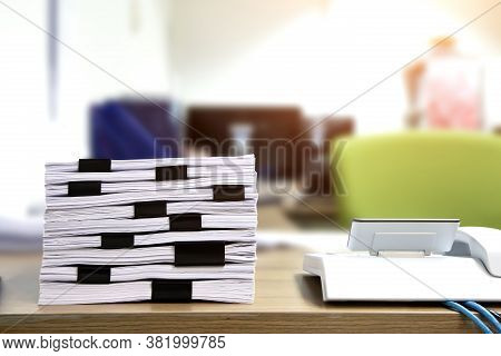 Pile Of A Lots Paper And Paperwork Report Or Printout Document On Desk Office Stack Up For Work Hard