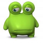 3 d cartoon cute green bacterium toy poster