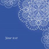 Background with lace ornament and space for your text. Template frame design for card. poster