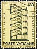 a stamp printed in the Vatican shows Design for Spiral Staircase, by Bramante, circa 1972 poster