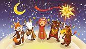 Celebration of traditional Belorussian winter holiday Kalyadi. poster