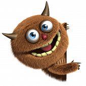 3d cartoon cute brown furry alien monster poster