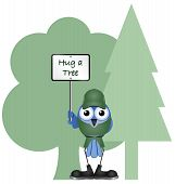 Environmental hug a tree message isolated on white background poster