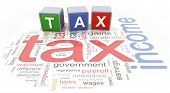 3d colorful buzzword text 'tax' on the background of income tax wordcloud. poster