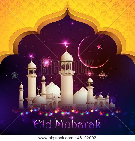 illustration of Eid Mubarak background with mosque poster