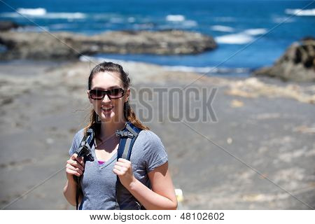 Hiker Woman At The Beach On A Sunny Day