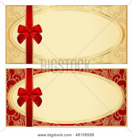 Voucher/ Gift certificate / Coupon template (banknote, money, currency, cheque, check)