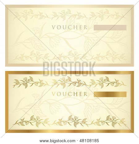 Gift certificate, Voucher, Coupon template with (banknote, money, currency, cheque, check)