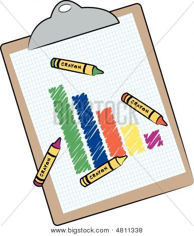 Clipboard With  Bar Graph And Crayons.