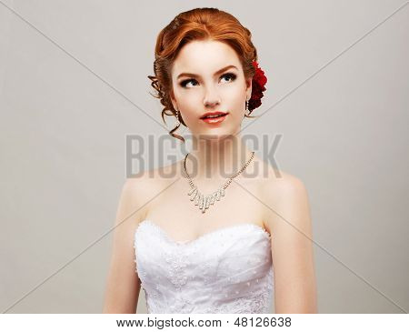 Sentimentality. Romantic Red Hair Woman With Flower In Her Head. Femininity