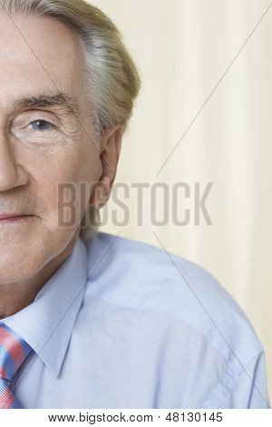 Half portrait shot of a senior businessman's face with blue eye