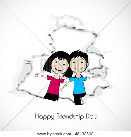 Happy Friendship Day background with cute little boy and girl illustration and colorful text Friends.  poster