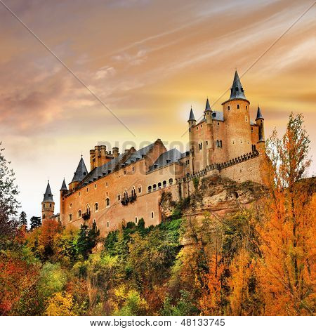 sunset over Alcazar castle, Spain, Segovia